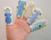 Monster Finger Puppets, Blue & White Printed Designs on Cotton Fabric (5-pack)