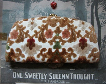 Vintage Baronet fuzzy gorgeous fabric tapestry stylized leaves flowers blossoms vines art nouveau style clutch purse glam rocker gear