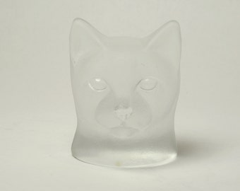 Nybro of Sweden Frosted Art Glass Cat Paperweight