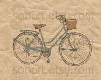 vintage bicycle2-Digital Image Sheet -Original Illustrate Drawing  A4 Print transfer on Pillows, t-shirts, scrapbook, lampshades  ETC.v