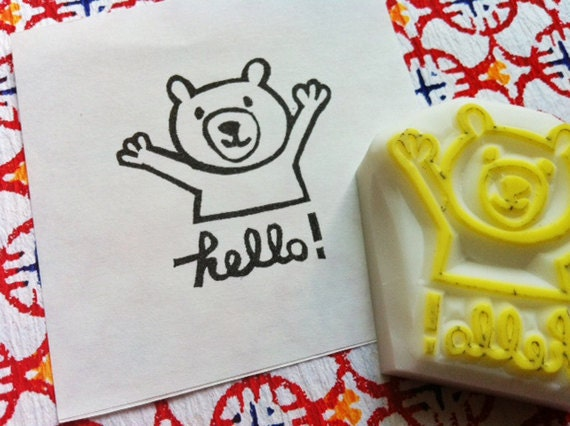 teddy bear rubber stamp. hello stamp. woodland animal hand carved stamp. bear cub stamp. diy birthday baby shower scrapbooking. card making