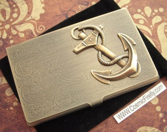 Brass Anchor Card Case Steampunk Card Case Nautical Anchor Case Vintage Inspired Antiqued Gold Brass Tone Metal Business Card Case