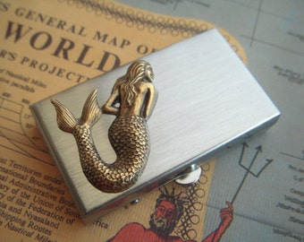 Mermaid Pill Box Gothic Victorian Vintage Inspired Style Classic Small Pill Box Tiny Size Pill Case Silver & Brass