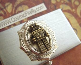 Robot Pill Case Silver Tone Metal Small Pill Case Antiqued Brass Steampunk Robot Pill Box