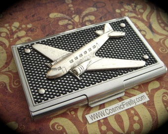 Steampunk Business Card Case Silver Airplane Card Case Industrial Card Case Silver Case Black Mesh