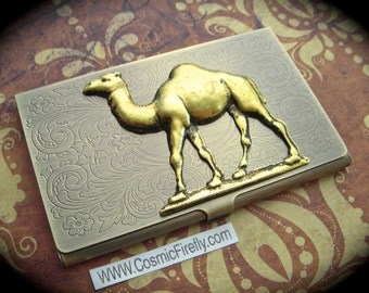 Brass Camel Business Card Case Gothic Victorian Vintage Inspired Steampunk Card Case