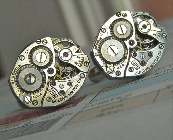 Steampunk Cufflinks Vintage USA BULOVA Watch Movements Matching Set Industrial Men's Cufflinks Accessories