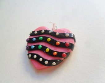 SALE 50% OFF- Stripe Heart with Rainbow Dots