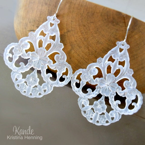 White Chandelier Earrings, Large Drop Lucite, Silver, Kande Kristina Henning - Roxanne
