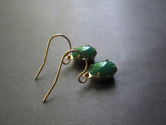 Vintage Earrings - Green Jade Earrings - 14K Gold Filled Earrings