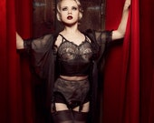 Black Lace Long Line Bra Chantilly & Silk Soft Cup Camisole Vintage Style