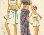 Sarong Skirt Beach Cover Up, Bra Top Shorts Bathing Suit Simplicity 6547 Sewing Pattern Vintage 60s Beachwear Size 12 Bust 32