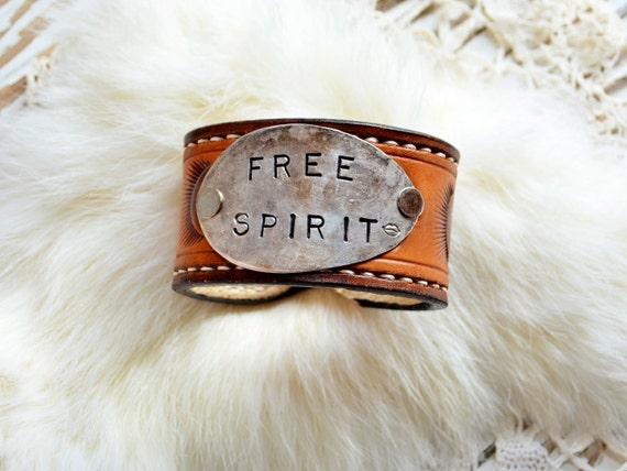 FREE SPIRIT-Lipstick Gypsy Original Handmade Vintage Repurposed Leather Silverware Cuff Hippie, Gypsy, Boho, Cowgirl
