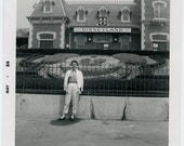 1959 Lady in Front of DISNEYLAND Mickey Mouse Garden - snapshot 988