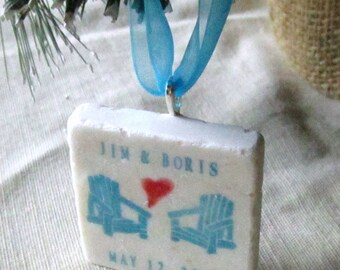 Personalized Adirondack Chair Christmas Ornament - Turquoise and Red - Gift for the Couple
