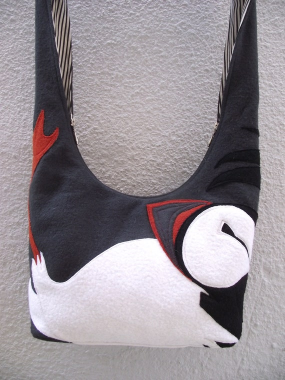 Atlantic Puffin Boiled Wool Tote Bag - puffin applique, grey boiled wool