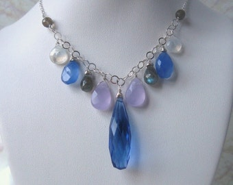 Blue Quartz Necklace with Chalcedony, Labradorite & Moonstone Wire Wrapped in Silver