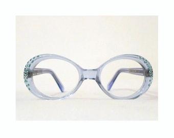 Blue Rhinestone Eyeglass Frames. Mod Bubble Eye Glasses or Sunglasses, NOS, Unused, Vintage 70s