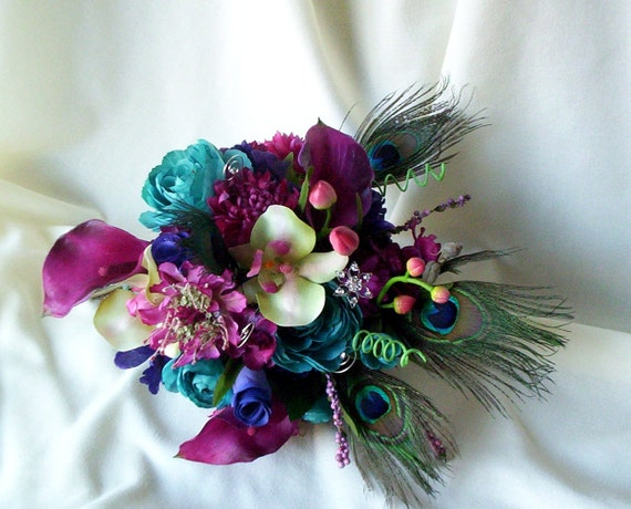 Fuschia Peacock Feather Wedding Flower Package Bridal Bouquet