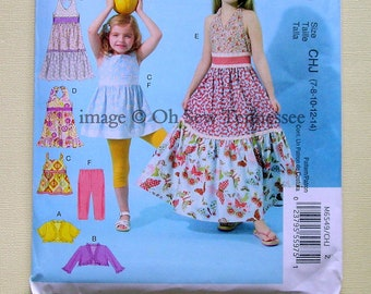 Girls Long and Short Dresses, Tunic, Leggings, and Bolero - McCalls 6549 - New but Out of Print Sewing Pattern, Sizes 7, 8, 10, 12, and 14