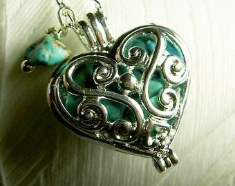 Worry Locket - turquoise heart locket / heart locket / heart necklace / turquoise locket  / turquoise necklace / locket necklace/