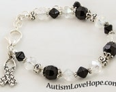 Black and Crystal Autism Awareness Bracelet with Silver Puzzle Piece Ribbon Charm - BCCAB