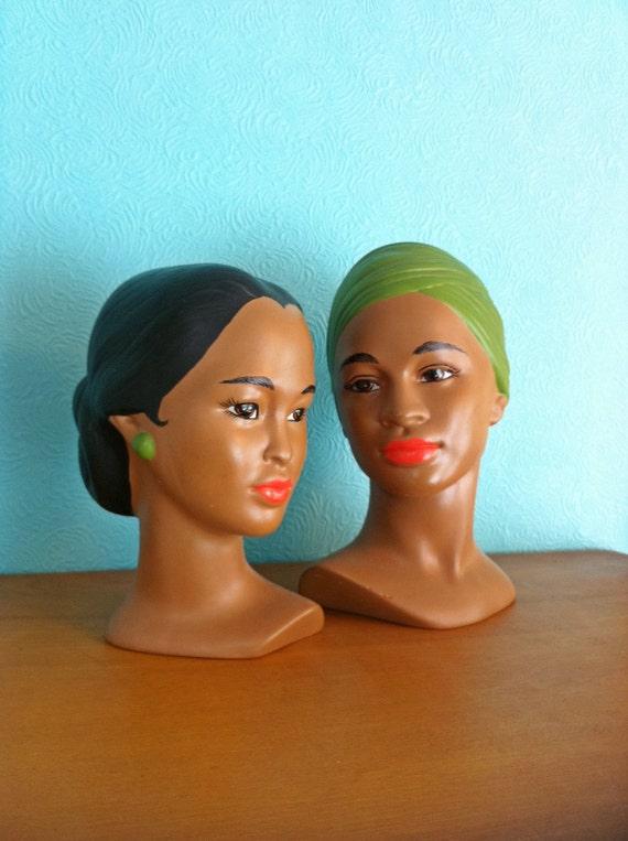 Vintage Holland Mold Polynesian Man and Woman Head Bust Pair
