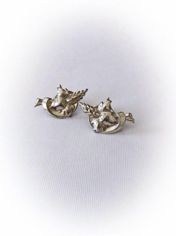 Vintage 1940s Earrings Sterling Silver Tropical Flower Screwbacks