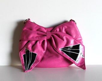PINK PURSE with hand painted paper planes