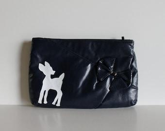 Vinatge Navy Blue Purse / Vintage Purse / Prom Purse / Deer / Painted Deer / Evening Purse / Painted Purse / Vintage Deer / One-of-a-Kind