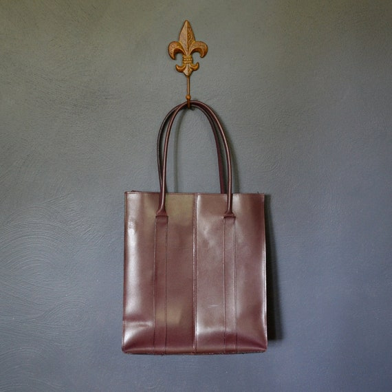 Vintage Leather Tote Bag/ Oversized BurgundySHoulder Bag by Lillian Vernon