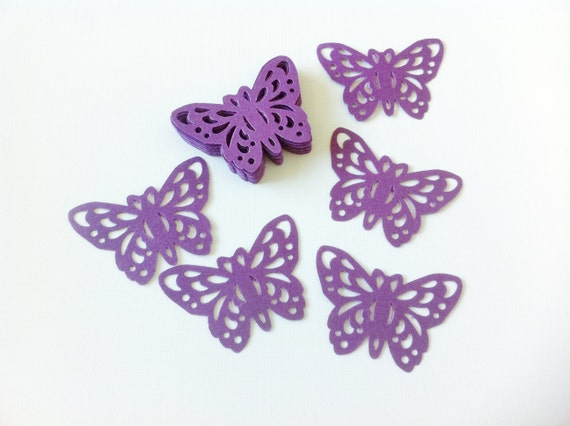 24 ROYAL PURPLE Butterfly Punch Die Cut Embellishments