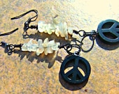 Black Peace Earrings Moonstone Dangle Beaded Woman Direct Checkout Hippie Bohemian Black Friday Etsy - Lusmysticjewels