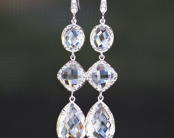 Triple, Clear Crystal Links Framed in Silver, Dangle Earrings/Long