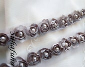 Satin Rosette Trim in GRAY with Hand Sewn Matching Pearl Beads- 1 yard