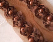 Satin Rosette Trim in CHOCOLATE BROWN with Hand Sewn Matching Pearl Beads- 1 yard