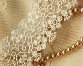 IVORY Swirly Flower Venise Lace Trim Journals Costume Crazy Quilt