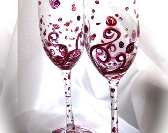 Samhain hand painted champagne flutes, autumn leaves, swirls, set of 2, larger set available