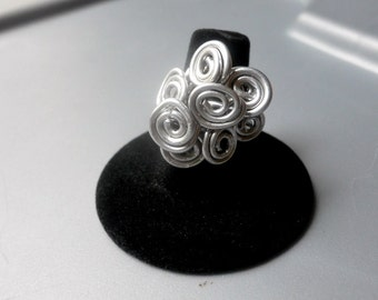 Bold Goddess Silver Aluminum Wire Spiral Cluster Tribal Ring, Size 8