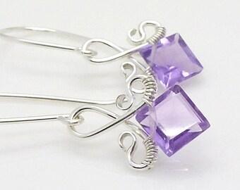 Small amethyst earrings, sterling silver, light purple gemstone February birthstone earrings