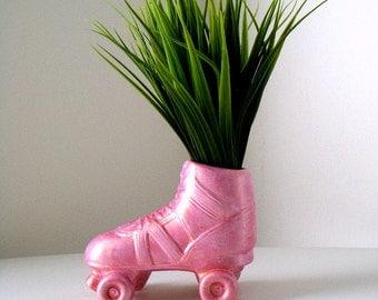 Ceramic Vase Roller Skate Planter Derby Girl Hand Painted Metallic Pink Retro Rocker Kitschy Pencil Holder Home Decor - MADE TO ORDER
