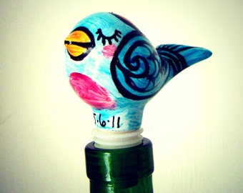 Love Bird Bottle Stopper Ceramic Wine Stopper Heart Folk Art Hand Painted Turquoise Blue Pink Red Customize Personalize Initials Dates