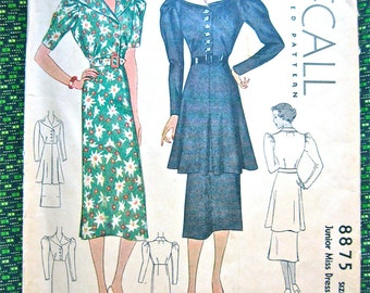 Vintage 1930s Sewing Misses' Dress Pattern McCall 8875  Bust 32 inches