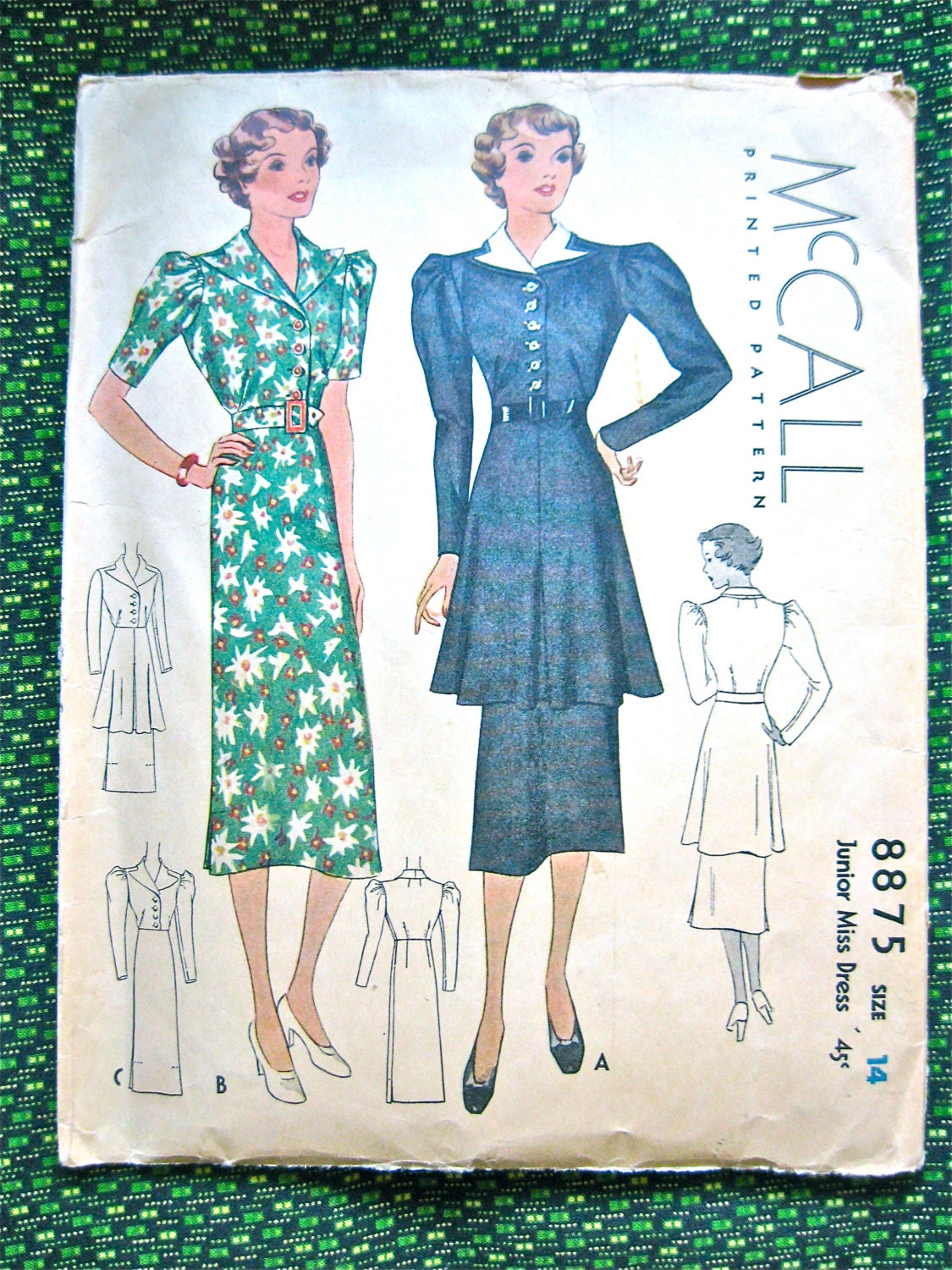 Vintage 1930s Sewing Misses' Dress Pattern McCall 8875