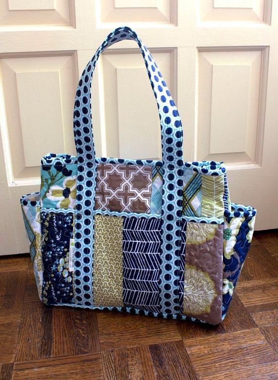 quilted baby diaper bag // patchwork modern meadow shoulder bag // boys diaper bag