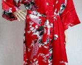Red Silk Bathrobe kimono bridesmaid bride mother of the bride house coat dressing gown personalised custom