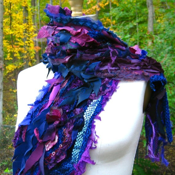 Tattered textured SCARF  Wrap  Shawl with fringes and silk flowers