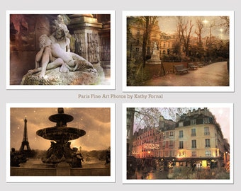 Paris Photography Set, Paris Sepia Prints or Note Cards, Paris Wall Art, Paris Photo Notecards, Paris Notecards, Paris Photography Print Set