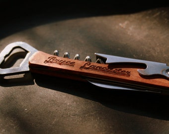 Personalized Bottle Opener and Wine Corkscrew with 4 Tools