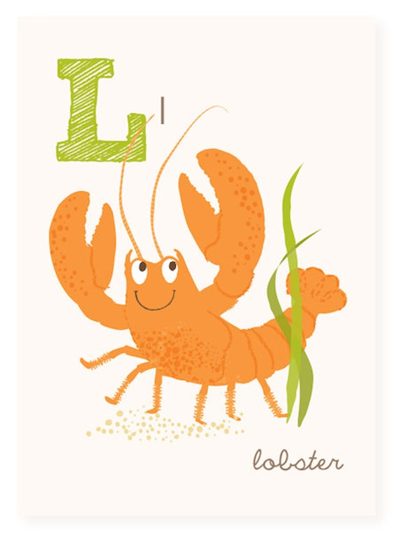ABC Wall Art L Is For Lobster Ocean ABC Wall Decor